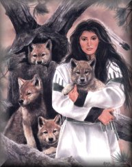 Neat Native American and wolf pups.
