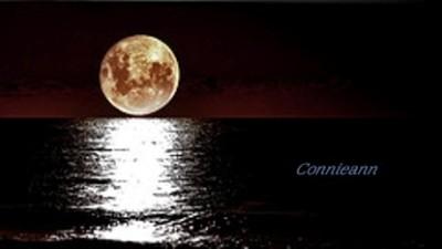 moon over ocean at night