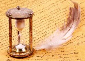 Hourglass & quill