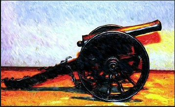 Digital painting of a cannon