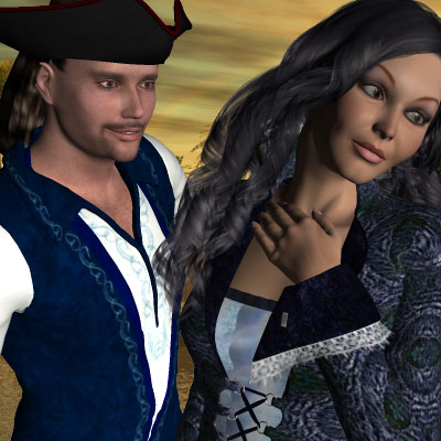 Beautiful Poser of pirate and his lady for my pirate story by best friend Angel.