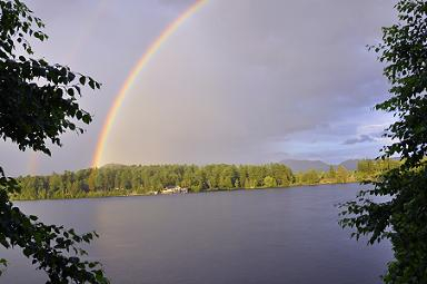 Rainbow on Mirror Lake, Adirondacks