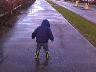 Kieran's new green wellie boots.