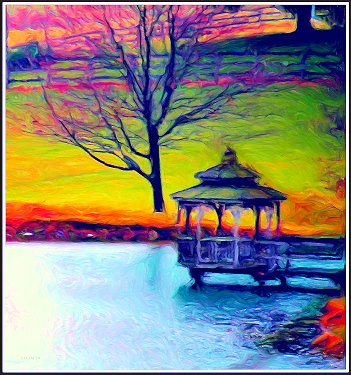 Lake scene with gazebo