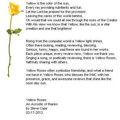 The Acrostic in Pic n Poem form for Yellow Roses - an Acrostic of Thanks