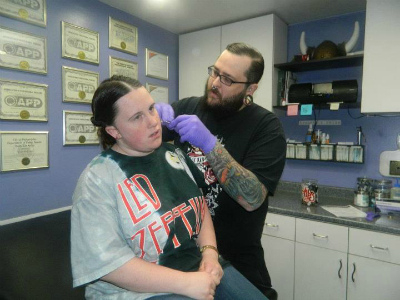 Me getting pierced at Infinite.
