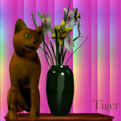 A poser image of my cat Tigger and flower vase by Angel.