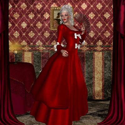 Beautiful Marie Antionette in a red dress by best friend Angel.