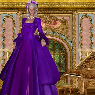 Beautiful painting of Marie Antionette in purple dress by best friend Angel.