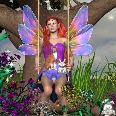 Neat painting of a fairy on a swing with a bunny and cat by best friend Angel..