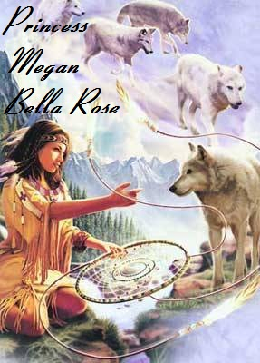 A NA woman and wolves in the clouds image.