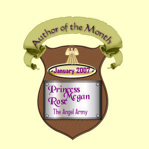 My Author Award Plaque for being Angels Army Author of the month.