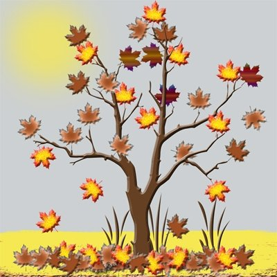 Clipart of a tree in Autumn.