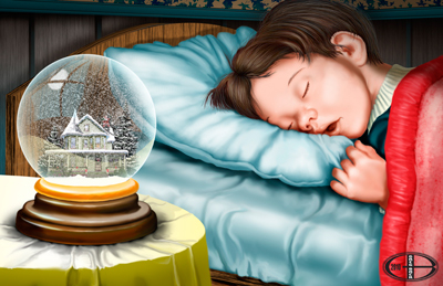 A little boy sleeps next to a snow globe with a Victorian house inside.