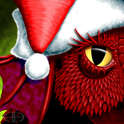 """Close-up of red dragon wearing a Santa hat. For """"The Truth About Santa Claus"""""""
