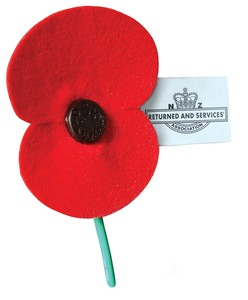 A poppy from the NZ Returned and Services Association - a tribute to fallen soldiers.