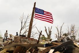 Flag on top of the destruction in Oklahoma