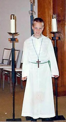 Joshua is the altar boy who receives the power of God