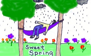 A teen in his hammock finds out that spring means rain!