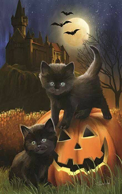 Cute picture of black kittens and a pumpkin.
