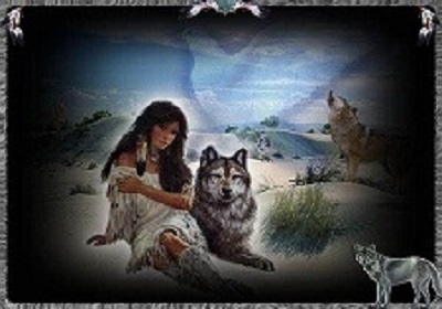 Neat image of NA woman and wolves.