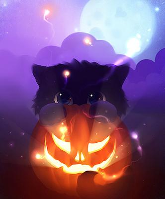Cute black face kitten and pumpkin.