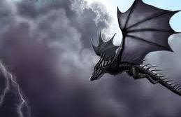 Blackthorn the dragon in flight.