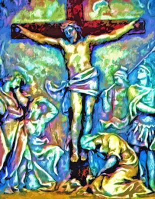 Digital Impressionistic Image of Christ on a cross