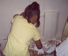 Missy was getting a bath.