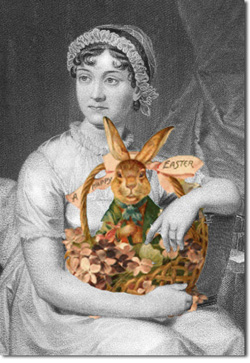 Black and white picture of Jane Austen with a color picture of a Easter Bunny and basket.