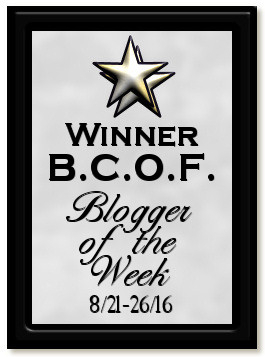 I made a plaque commemorating blogger of the week nod.  Leger's shop does great work!