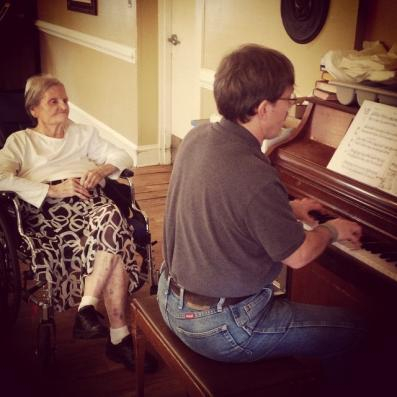 This was at Thanksgiving in 2014 or 2015. Mom loved to hear me play the piano.
