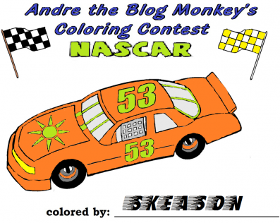 Nascar coloring contest entry -Skeason