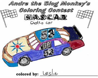 Nascar coloring contest entry - Leslie