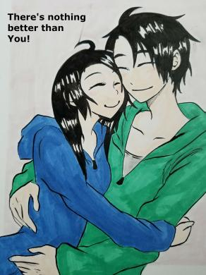 Couple hugging with saying.