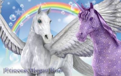 Beautiful white and lavender unicorns Sig. A gift from Angel.