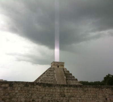 Mayan pyramid opening to space