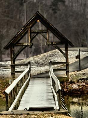 snowy walking bridge