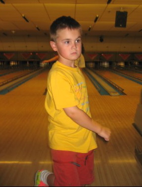 Alex al the bowling alley this summer.