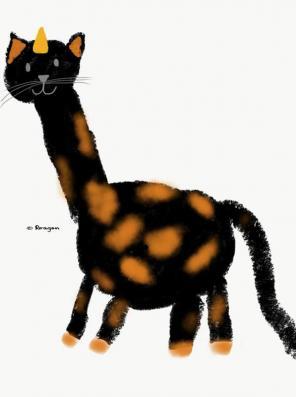 A feline-giraffe-unicorn.