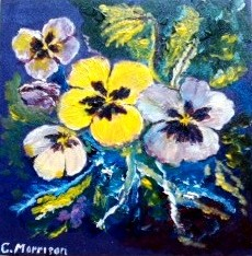 impressionist acrylic painting of pansies