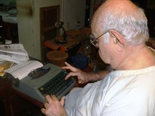 Dad at typewriter