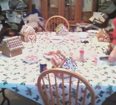 A block of Gingerbread houses made by me, my brother, and a few of my cousins.