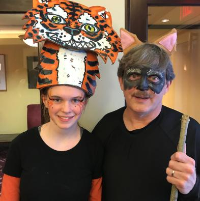 Jay O'Toole as Father Wolf, along with Jade Amber Jewel as Shere Khan in Jungle Book '18.