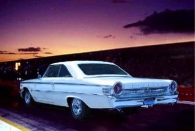 Mike's R-Code 427 c.i. 63 1/2 Ford Galaxie 500, superimposed onto a dragstrip shot.