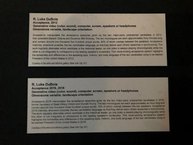 Descriptions next to the videos at the Beall Center