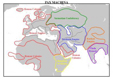 """A map to accompany my """"Pax Machina"""" project."""