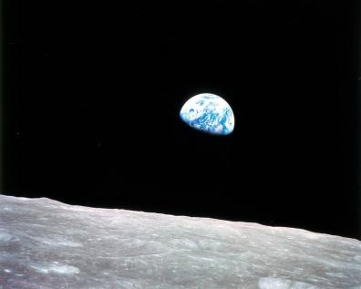 An image of the Earth taken from lunar orbit by Bill Anders during the Apollo 8 mission