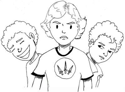 My three sons as drawn by my husband.