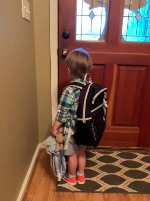 Waiting to leave for the first day of school